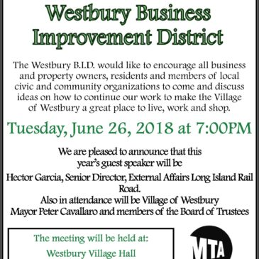 Annual Westbury BID Board Meeting – June 26, 2018